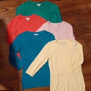 EUC 5 soft light sweaters 3/4 sleeve